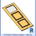 revit families | Puerta 2 Tableros madera mas vidrio familias de para revit.rf | 23 door leaves 2