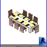revit families | Dining set.rf | 32 Table and chairs 2