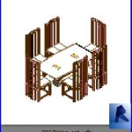 revit families | Dining set .rf | 32 Table and chairs 3