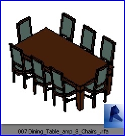 Tremendous Revit Families Dining Table Amp 8 Chairs Rf 32 Table Download Free Architecture Designs Remcamadebymaigaardcom