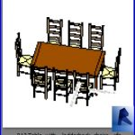revit families | Table with ladderback chairs .rf | 32 Table and chairs 13