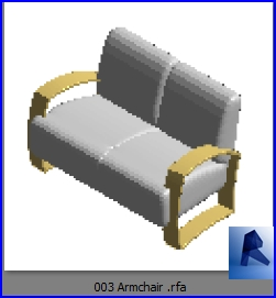 revit families | Armchair model 3 rfa | 35 couch 3